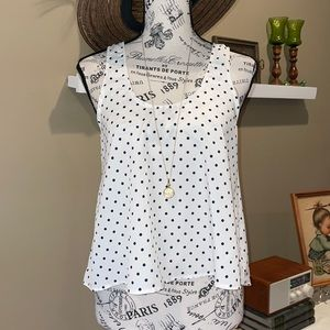 Lush polka dot sleeveless blouse with open in back